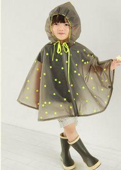 Neon stars rain poncho