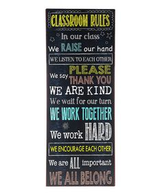 Look what I found on #zulily! 'Classroom Rules' Wall Sign #zulilyfinds