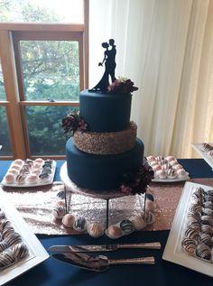 Rose Gold & Navy Wedding Cake. Metallic Wedding Cake. Simple Wedding Cake. Rose Gold Wedding Cake. Navy Wedding Cake. Wedding Theme. Wedding Florals. Wedding Cake. Wedding Day. Wedding Planning.