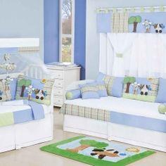 Quarto Completo Enxoval para Bebê Berço Padrão Americano c/ Mosquiteiro Leleco Meninos Branco/Azul/Verde 100% Algodão 120 Fios 35 Peças 0 | Grão de Gente