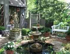 50 Stunning Cottage Style Garden Ideas to Create the Perfect Getaway Spot Small Courtyard Gardens, Small Courtyards, Garden Fencing, Garden Paths, Garden Pond, Garden On A Hill, Garden Fountains, Garden Planters, Cottage Garden Design