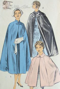 Advance ca. Misses Cape: Two Lengths. Cape, the finishing touch that completes any daytime or evening costume. Coat Pattern Sewing, Cape Pattern, Coat Patterns, Vintage Sewing Patterns, Clothing Patterns, Fashion Patterns, Pattern Design, Wool Cape, Cape Coat