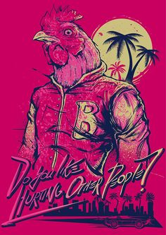 Do you like hurting other people? | Hotline Miami's Richard | Flickr Videogames, Miami Hotline, Cyberpunk, Miami Wallpaper, Mobile Wallpaper, Miami Game, Fan Art, Vaporwave, Indie Games