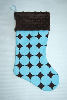 Christmas Stocking Blue Disco Dots  Cyndiloo by cyndilooboutique, $20.00