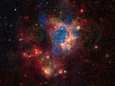 This composite image shows a superbubble in the Large Magellanic Cloud (LMC), a small satellite galaxy of the Milky Way located about 160,000 light years from Earth. Many new stars, some of them very massive, are forming in the star cluster NGC 1929, which is embedded in the nebula N44, so named because it is the 44th nebula in a catalog of such objects in the Magellanic Clouds. The massive stars produce intense radiation, expel matter at high speeds, and race through their evolution to expl...