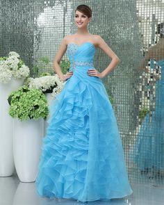 Amazing Ruffled Beading Floor Length Prom Dress