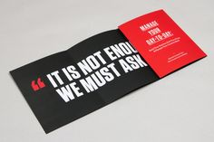 99U Book :: Fold-out Flyer/Poster by Raewyn Brandon, via Behance- great idea for boot camp maybe...
