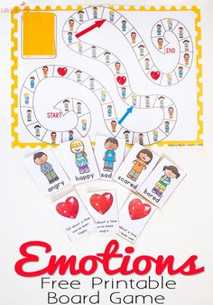 This free printable Emotions board game is perfect for kids who need help learning how to properly express their emotions. Happy, sad, scared, angry and bored are the fun emotions that they will be exploring through play and conversation. Emotions Game, Emotions Activities, Counseling Activities, Feelings And Emotions, Hands On Activities, Learning Activities, Feelings Preschool, Teaching Emotions, Spanish Activities