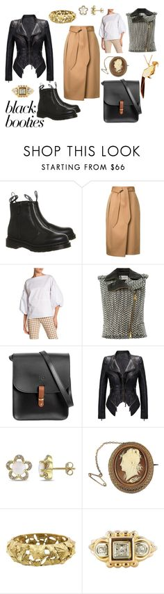 """booties for work"" by moestesoh ❤ liked on Polyvore featuring Dr. Martens, Estnation, Whyte Eyelash, Lanvin, N'Damus, Laura Ashley and Origami Jewellery"