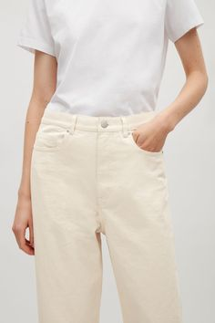 COS image 4 of Relaxed straight-fit jeans in Vanilla