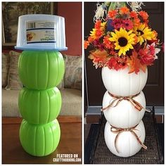 diy fall decor Get crafty for less with these dollar store fall crafts. From dollar store pumpkin makeovers to mason jar crafts, there are plenty of ideas for inspiration. Fall Halloween, Halloween Crafts, Diy Halloween Decorations, Fall Decorations For Outside, Diy Thanksgiving Decorations, Outside Fall Decorations, Halloween Buckets, Autumn Party Decorations, Holoween Decorations