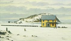 Pulling together, by Ted Stuckless.  I love Newfoundland. how houses were moved in Winter, during the 1960's there was a resettlement program where families were paid to move to larger,more accessible towns.