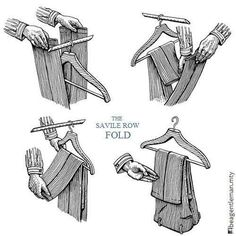 Keep suit trousers from falling off the hanger with the Savile Row Fold.