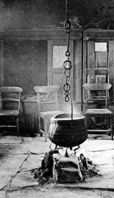 Old photograph of the interior of a crofters cottage in Highland Perthshire, Scotland