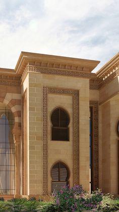 Islamic Palace on Behance Mosque Architecture, Neoclassical Architecture, Historical Architecture, Architecture Details, Brick Design, Exterior Design, Showroom Interior Design, House Outside Design, Classic House Design