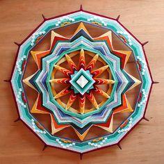 Red Rock Sun, a custom order 24 inch Ojo de Dios mandala