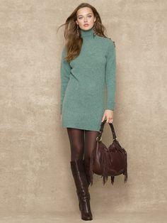 Wool Turtleneck Tunic - Short Dresses  Dresses - RalphLauren.com