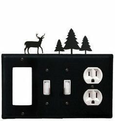 Deer & Pine Trees - Single GFI, Double Switch and Single Outlet Cover by Village Wrought Iron. $18.32. Deer & Pine Trees - Single GFI, Double Switch and Single Outlet CoverApprox. 8 1/4 In. W x 8 In. H Please allow 4 to 6 weeks for delivery.