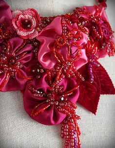 PINKS Pink Red Orange Floral Bib Necklace by carlafoxdesign