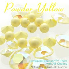 Exclusively from E.H. Ashley - Swarovski LacquerPRO Effect Crystal Powder Yellow with AB Custom Coating on articles #4470 and #1088 accompanied by New Swarovski Crystal Pastel Pearl in Pastel Yellow at www.ehashley.com #Swarovski #Lacquerpro #bling #Crystals #Yellow #Pearls #Pastels