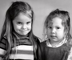 Black and White Vintage Photograph 2 young girls by VISIONAGE