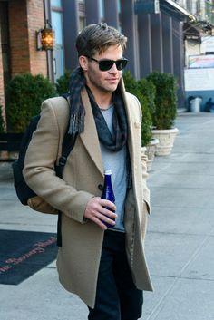 Chris Pine😍 camel coat