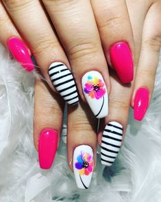 We nailed it!!!! #funnails #nailart #springnails #two64nailbar #nailsbytrish #loveit #lovemyclients #flowernails #pinknails #nailsofinstagram #coffinnails #fancynails #vancity #aldergrovenails