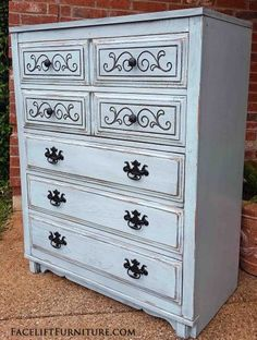Robin's Egg Blue Art Deco Chest of Drawers - Facelift Furniture Robins Egg Blue, Painted Bedroom Furniture, Coffee Table Makeover, Blue Furniture, Flipping Furniture, Furniture, Shabby Chic Furniture, Chic Furniture, Diy Projects For Bedroom