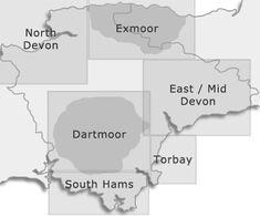 Devon regions map Devon Holidays, Devon Cottages, Dartmoor, Holiday Accommodation, England, Place Card Holders, Map, Location Map, Peta