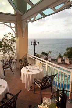 Beautiful sunset overlooking the pools and ocean at Amando's Itailian restaurant #finedining