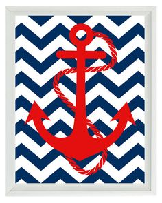Anchor  Nautical Art Print - Red Navy Blue Chevron Nursery Chldren Room - Beach Wall Art Home Decor  8x10. $15.00, via Etsy.