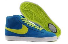 sports shoes aa319 1967d Nike Blazer High Vintage Suede Chaussure pour Femme Royal Bleu Vert Blanc,Modern  sneakers up