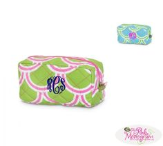 the perfect addition to our quilted duffle the monogrammed cosmetic bag comes in 2 Harbor Bae colors Choose turquoise with green or the pink with green