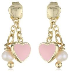 Little Miss Twin Stars Girls Vermeil Heart with Pink Heart and White Pearl Drop Earrings