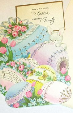 Old Vintage Cute Easter bunny rabbit pretty decorated eggs flowers Gibson greeting card