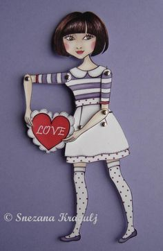 Valentine's paper doll I give you my heart by katyandthecat Pantone Markers, Transparent Bag, Muse Art, Cardboard Paper, Shadow Puppets, Vintage Paper Dolls, You And I, First Love, Valentines