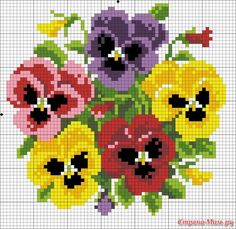 ~ multiple pansies for peg board (or cross stitch). ~ multiple pansies for peg board (or cross stitch). Simple Cross Stitch, Cross Stitch Rose, Cross Stitch Flowers, Cross Stitch Charts, Cross Stitch Designs, Cross Stitch Patterns, Hand Embroidery Designs, Embroidery Patterns, Cross Stitching