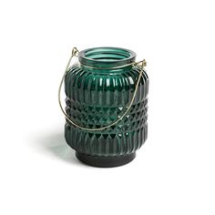 Emerald Green Embossed Glass Candle Lantern.  This stunning little glass embossed candle lantern features a gold metal handle and is perfect for tealights and small candles. Watch as the light shines through the embossed glass and creates a gorgeous pattern of light around the room. Pair with some of the other coloured lanterns from the same range for the perfect set.