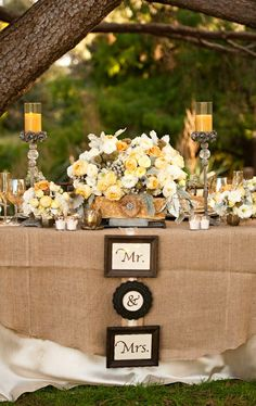 Yellow and fantastic. Check out the blog about tips on how to have a showstopping sweetheart table @ justbethebride.com! #Burlap #Wedding Ideas