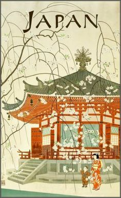 Japanese Travel Bureau 1950's. travel poster