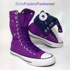 a5b852000da8 Converse Womens All Star Trainers Purple Sz 3 X Hi Knee High Top BOOTS US 5  35
