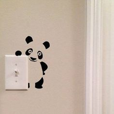 Panda Light Switch Cute Vinyl Wall Decal by imprinteddecals Wall Painting Decor, Wall Decor, Wall Decal Sticker, Wall Stickers, Wall Drawing, Paint Designs, Bedroom Wall, Wall Design, Home Deco