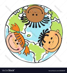 Globe kids Children Earth day vector image on VectorStock