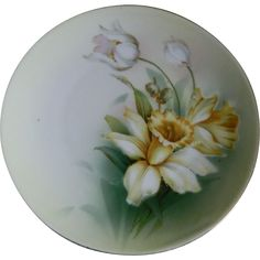 Reinhold Schlegelmilch (R S Germany) Hand Painted Daffodil Plate Early 1900's