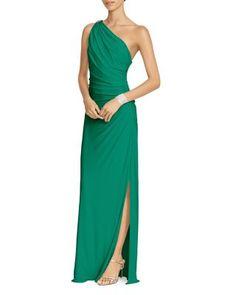 Lauren Ralph Lauren One Shoulder Ruched Gown with Brooch   bloomingdales.com