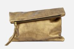 Oversized Metallic Fold Clutch
