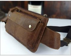 Men's Genuine Leather Waist Bag, Pouch Fanny Pack,Belt Bag,Sport Running bag,Bum Hip Bag,Can hold Wallet,Cellphone,Long Strap,Brown Coffee