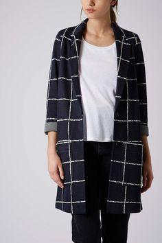 Check Print Jersey Coat