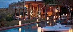 """Singita Lebombo Lodge This luxury lodge, which is certified """"green"""", consists of 15 suites, each positioned in niches on a ridge, with views over the river valley below. The lodge offers full spa and gym facilities and the reserve is home to the Big Gym Facilities, Over The River, Kruger National Park, Luxury Camping, Big 5, Safari, Spa, Environment, African"""