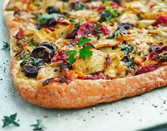 Artichoke, olive, pepper and Parmesan tart - definitely a keeper.
